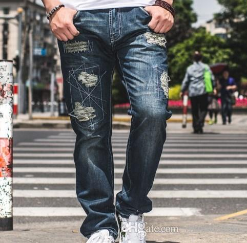2017 Large Size Mens Straight Distressed Jeans Hip Hop Cargo Jeans ...