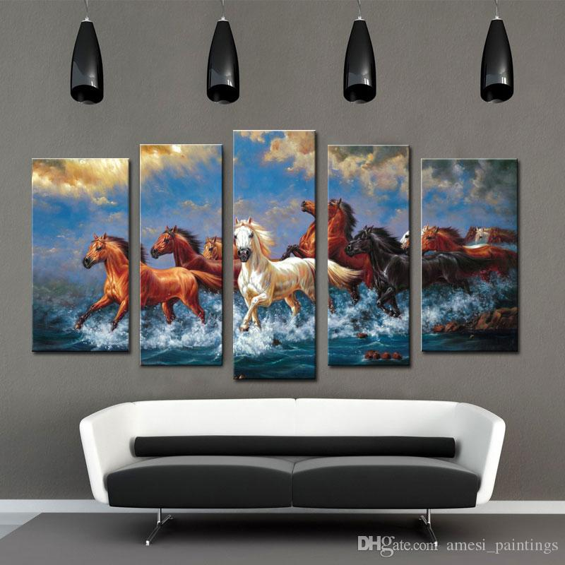 spirit up art large running horses picture painting on canvas print without framed modern home decorations wall art