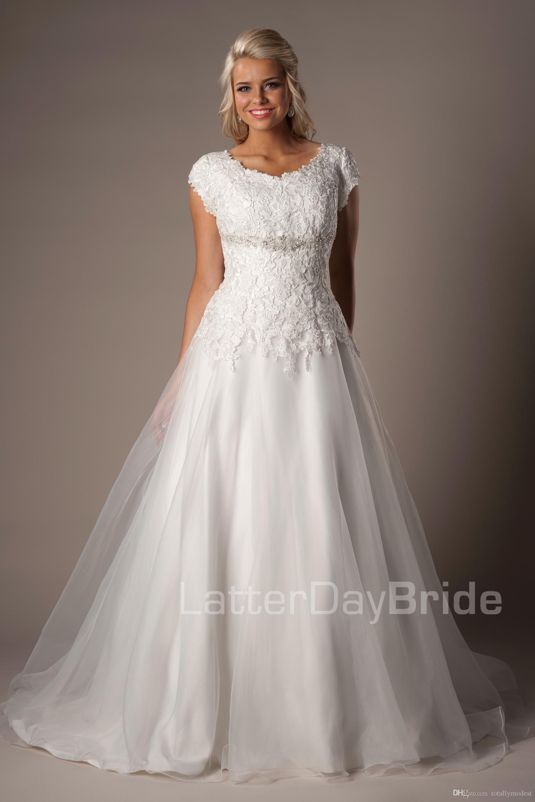 Discount Simple Lace Organza Modest Wedding Dresses With
