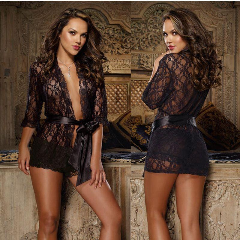 online cheap weibliche unterw sche schwarz spitze robe. Black Bedroom Furniture Sets. Home Design Ideas