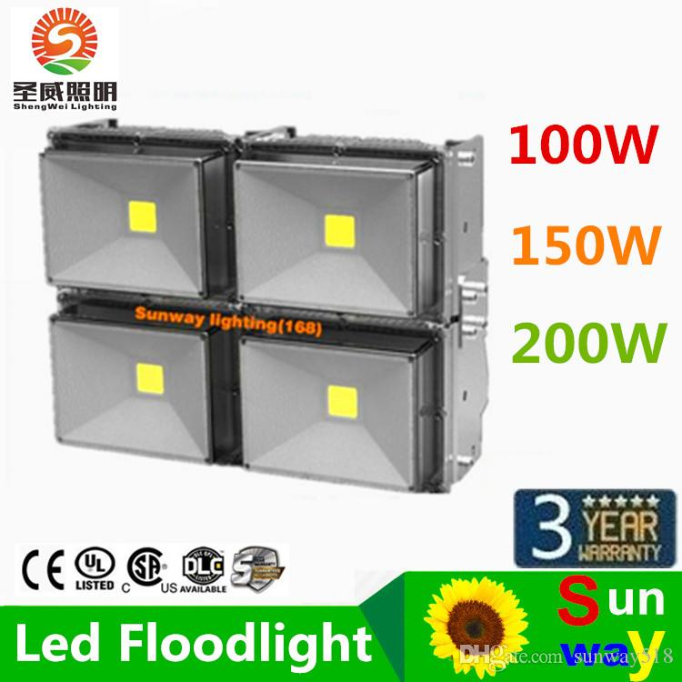 2015 Hot Sales 30W 50W 100W 120W 150W 200W Outdoor Waterproof Led Floodlights Warm Cool White IP67 Led Flood Lights AC 85-265V Free