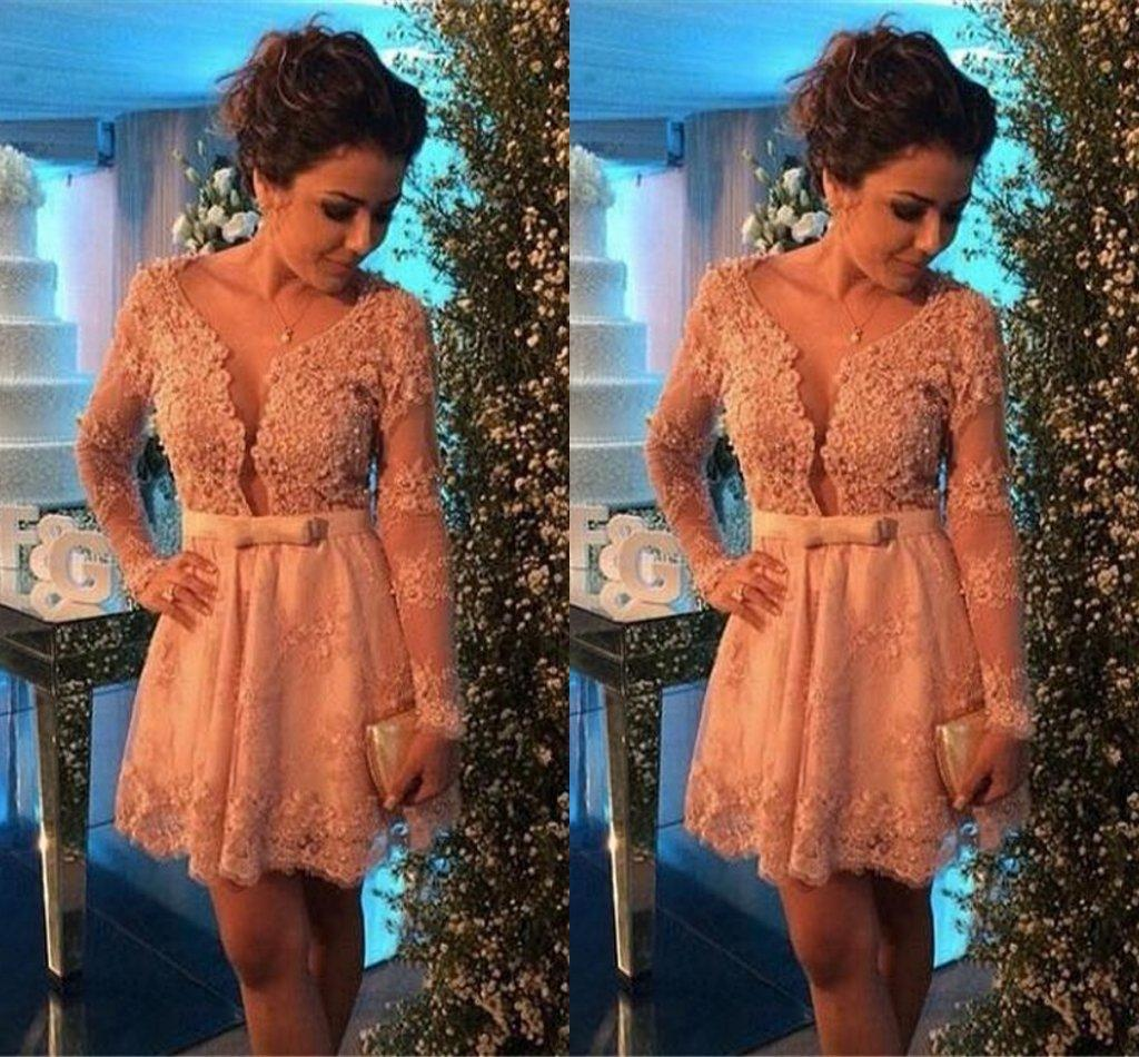 Short Home ing Dresses Long Sleeves 2017 Champagne Lace