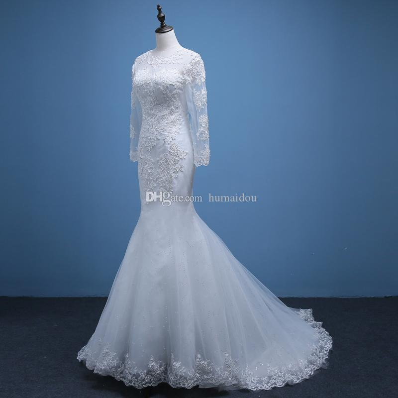Elegant mermaid wedding dresses crew neck long sleeves for Crew neck wedding dress