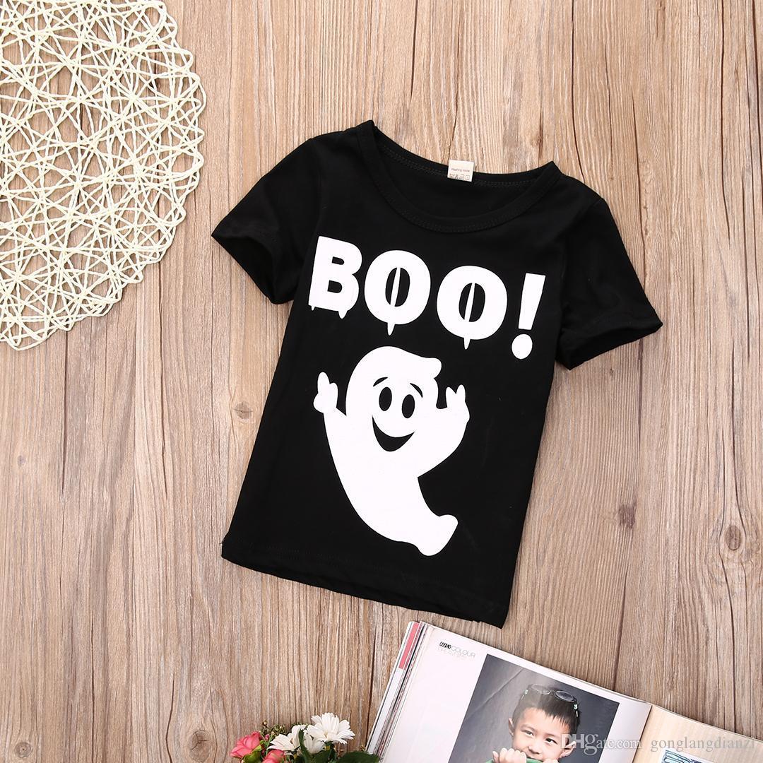 Shirt design boy 2016 - Cute 2016 Wholesale 10pieces Lot Halloween Boys Girls Ghost Printed T Shirt Cotton Tops