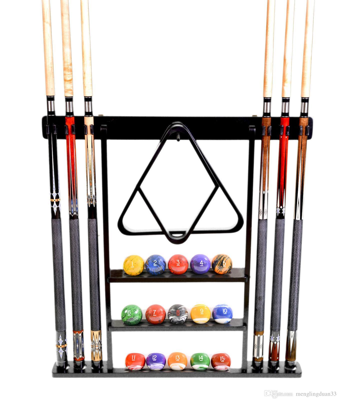 2017 billiard stick ball set wall rack holder black for Cue rack plans