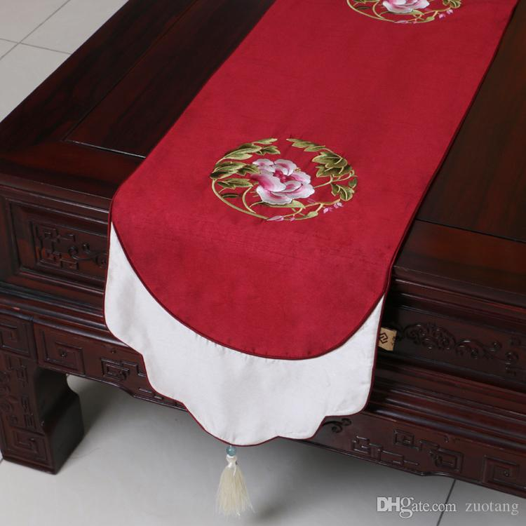 Extra Long 120inch Fine Embroidered Table Runner Chinese Style Dining Table  Mats Silk Brocade Coffee Table Cloth Placemat Home Decoration Damask Table  ...
