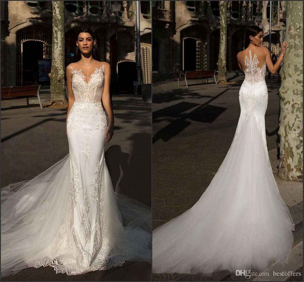 Court Train Mermaid Wedding Dresses 2017 New Berta Sheer