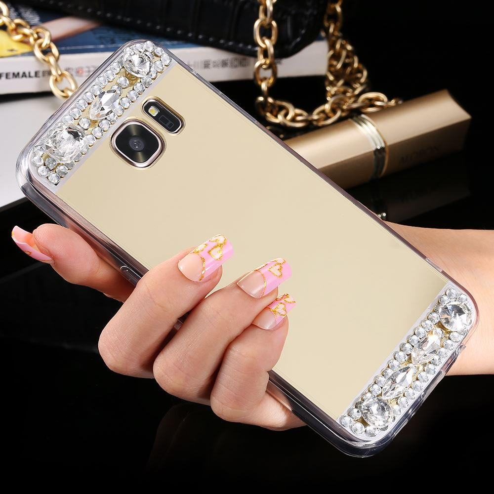 Luxury Crystal Case Cover diamant Miroir pour Samsung Galaxy S6 S7 bord A5 A7 J5