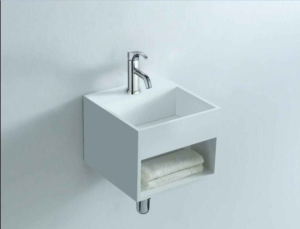Best Rectangular Bathroom Solid Surface Stone Wall Hung Sink And