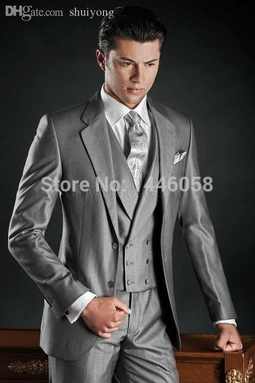 Wholesale-Italian Men Suits Custom Prom Tuxedo Silver Grey Wedding ...