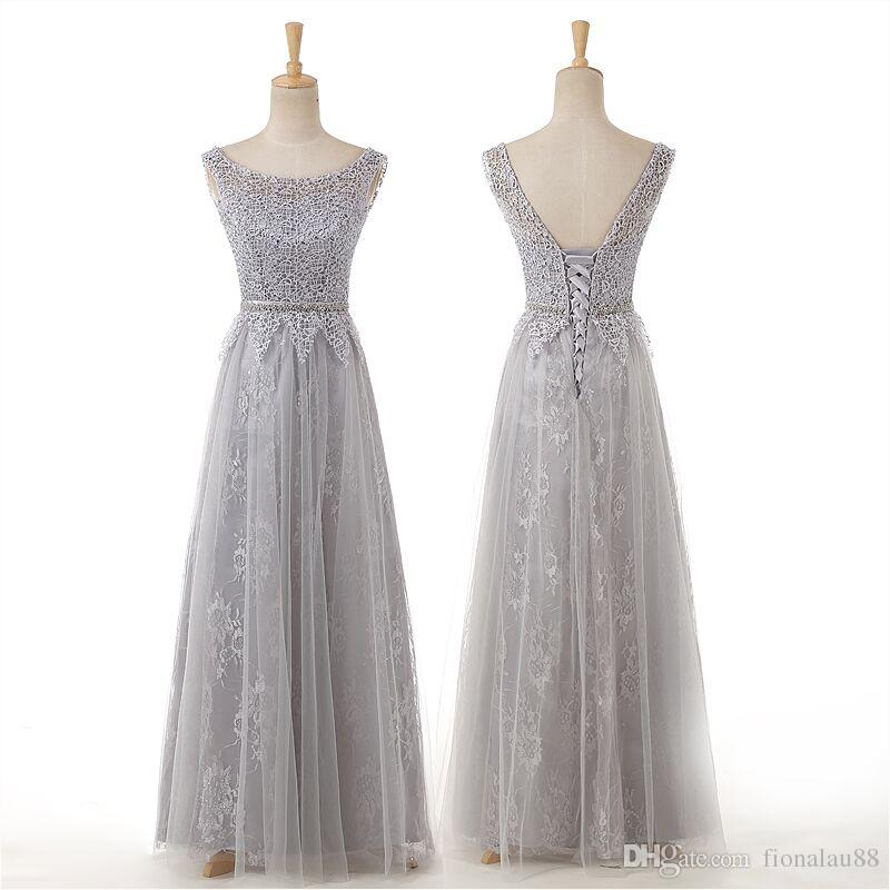 Long bridesmaid dresses gray red purple pink a line tulle for Purple and grey wedding dresses
