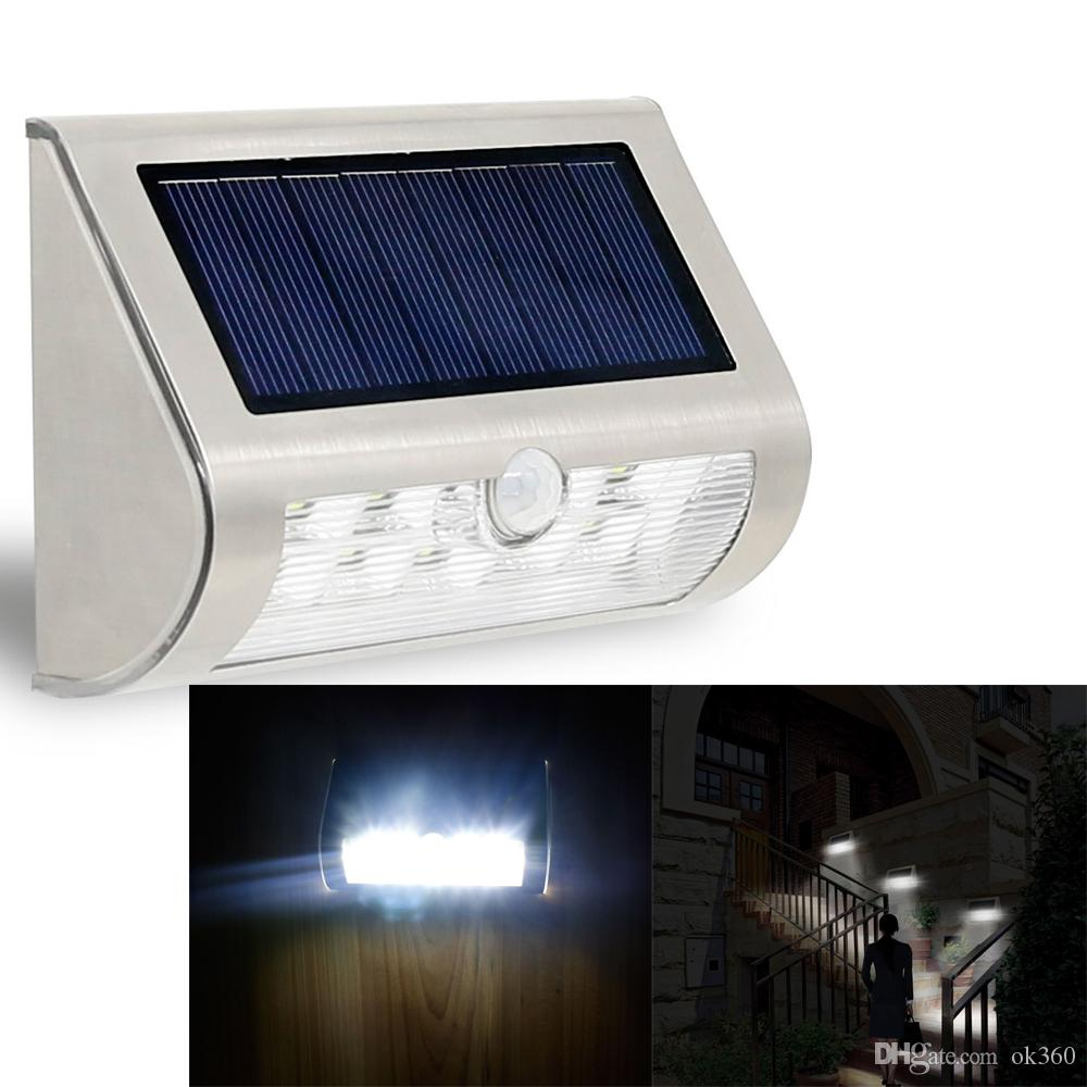 2018 High Quality 9led Pir Solar Wall Light Yard Patio Path Fence Wall Stair Lamp Battery ...