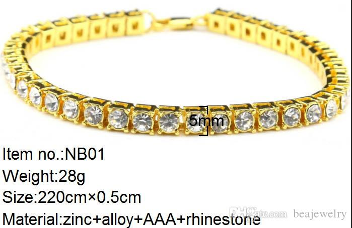 Men Iced Out 1 Row Rhinestones Bracelet Style hip hop pour hommes Clear Simulate