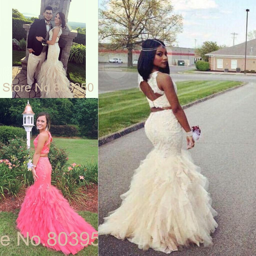 Modest Arabic Two Pieces Prom Dresses Party Mermaid Style Fitted ...