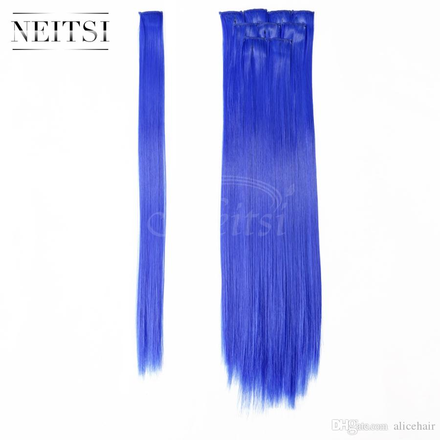 Neitsi 18inch 10pcs/lot Colorful Synthetic Hair Straight Synthetic Hair Extensions Clip in Hair Cosplay Extensions