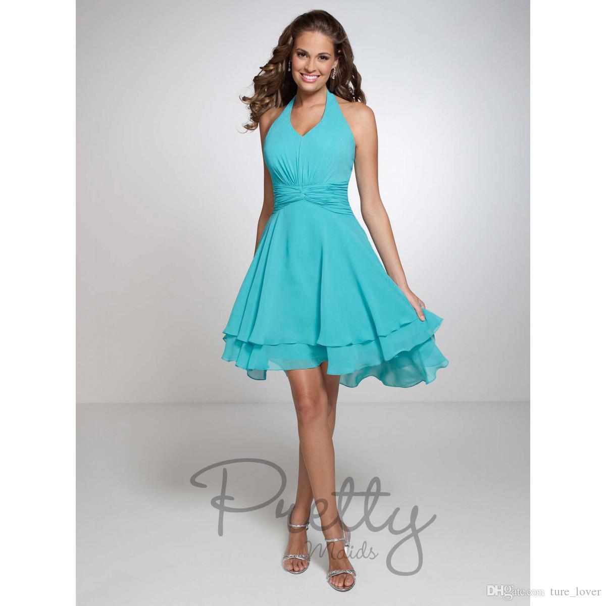 Country Bridesmaid Dresses 2016 Turquoise Halter Chiffon