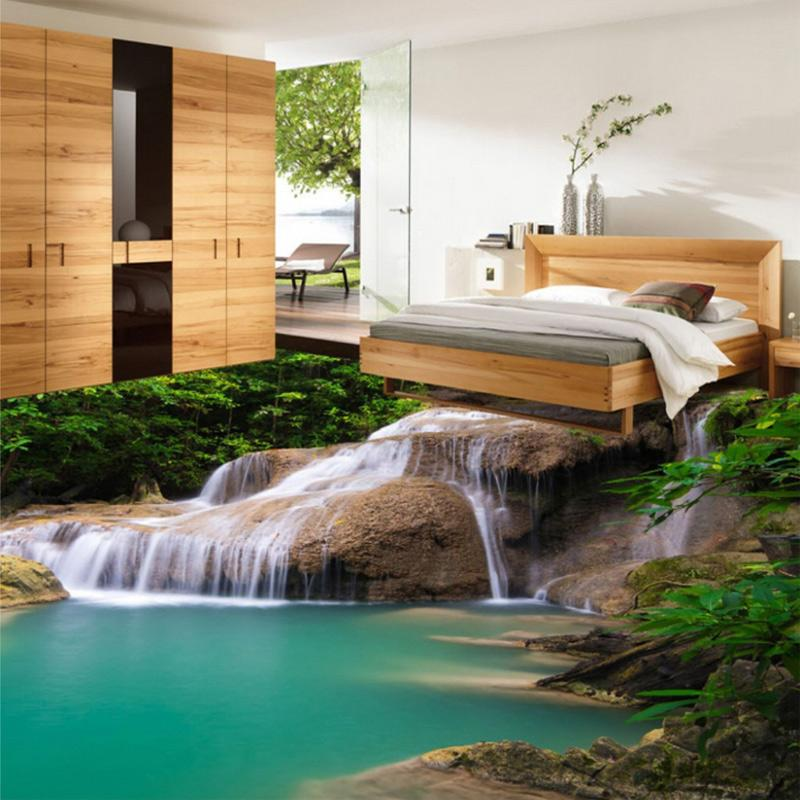 Custom mural wallpaper 3d hd nature waterfall pvc floor