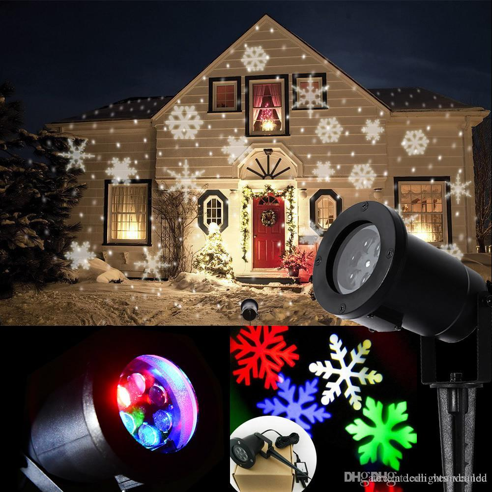Outdoor Christmas Snowflake Laser Lights Led White And Colorful Snowflower La