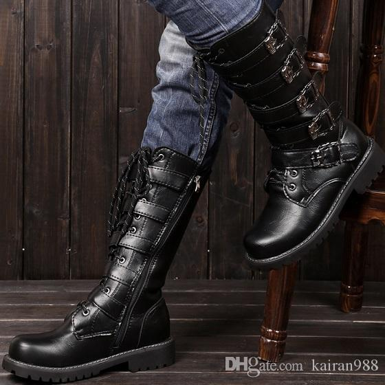 mens buckles lace up black knee high boots motercycle combat boots shoes black ankle boots wedge. Black Bedroom Furniture Sets. Home Design Ideas