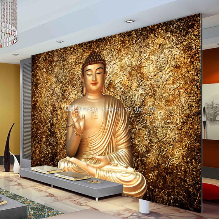 Golden buddha photo wallpaper buddhist temple wall mural for 3d wallpaper for bedroom wall india