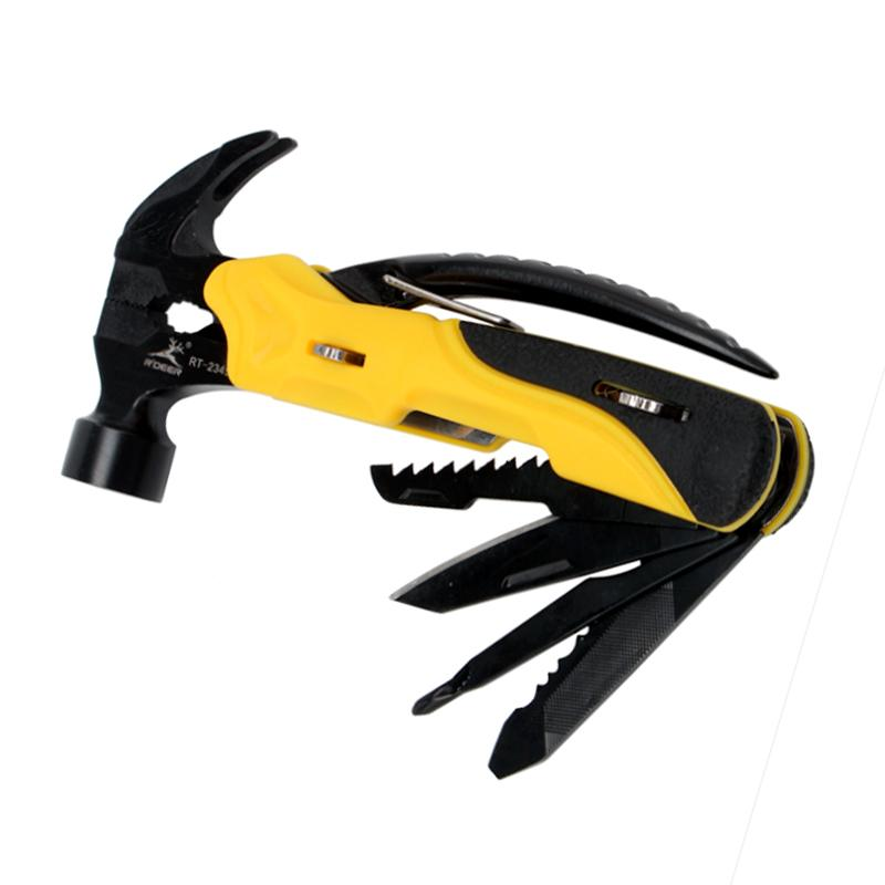 Multi Tool Outdoor Survival Knife 7 In 1 Pocket Multi Function Tools Set Mini Foldaway Pliers Knife Screwdriver Folding Hammer T02006