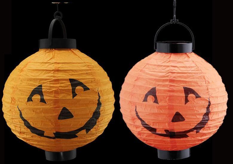 wholesale halloween decoration led paper pumpkin light hanging lantern lamp halloween props outdoor party halloween pumpkin lantern lamp pumpkin light