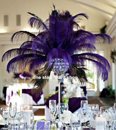 Elegant ostrich feather wedding table centerpieces no