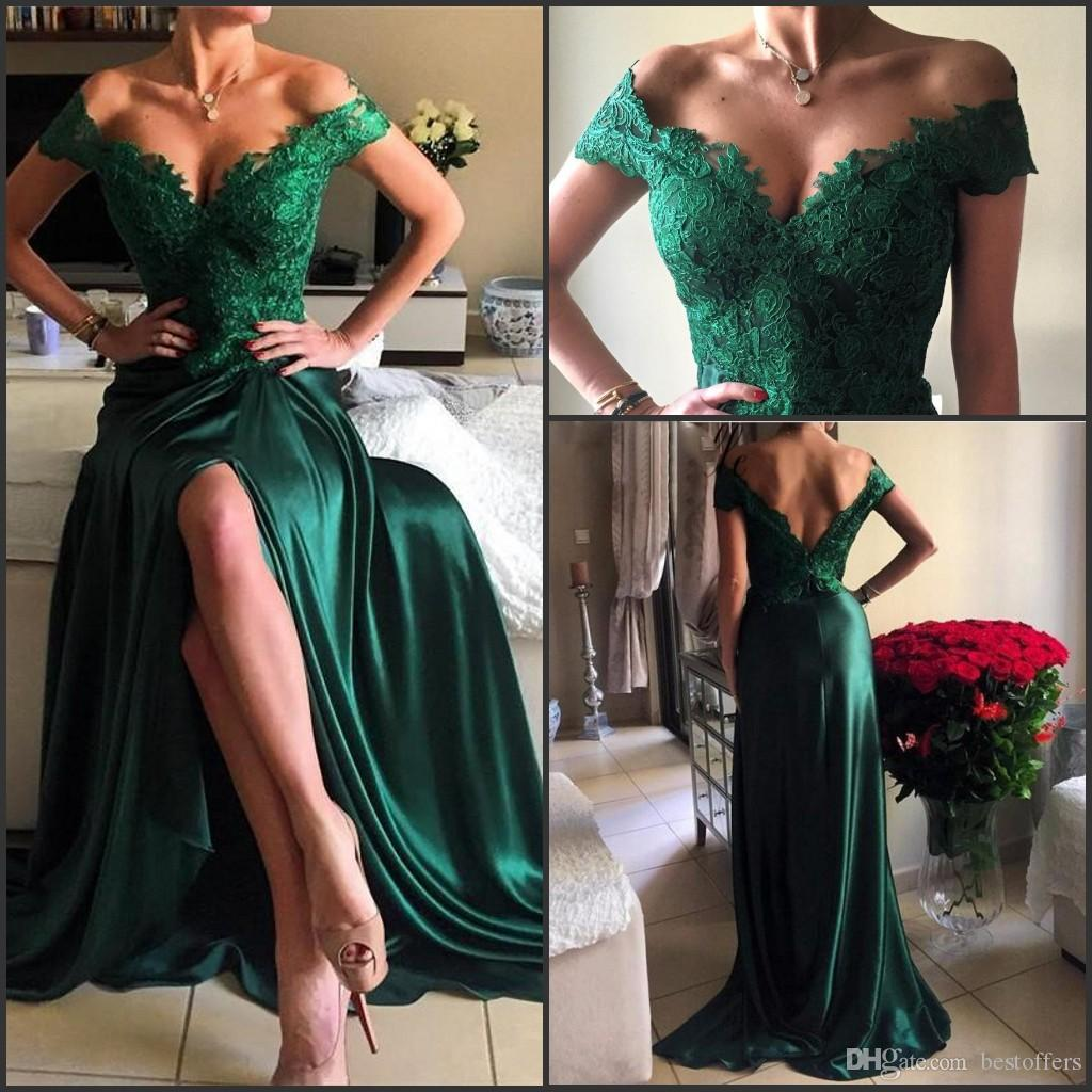 Emerald Green High Split Side Sexy Evening Dresses 2017
