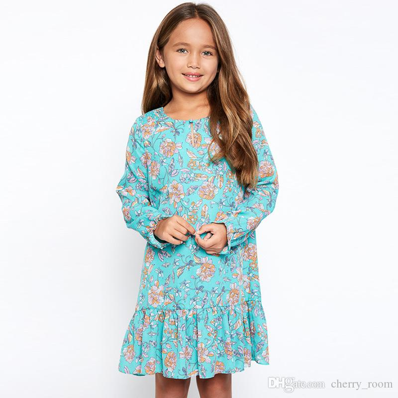 2017 Big Girl Dresses Kids Clothess Flowers Printed High Quality ...