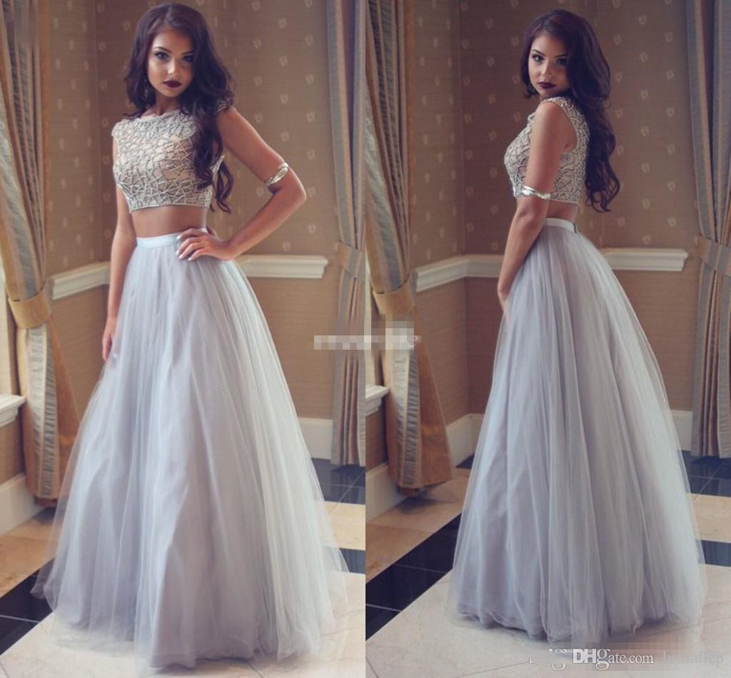 Silver Gray Tulle Long Prom Dresses Crystals Beading