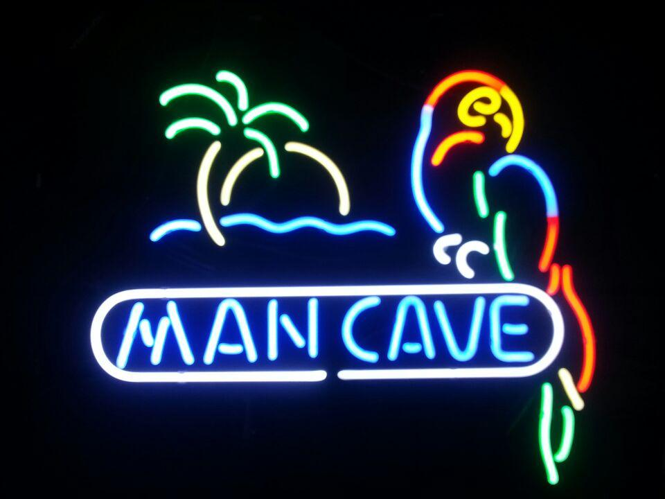 Man Cave Neon Light Signs : Man cave parrot real glass neon light sign lamp