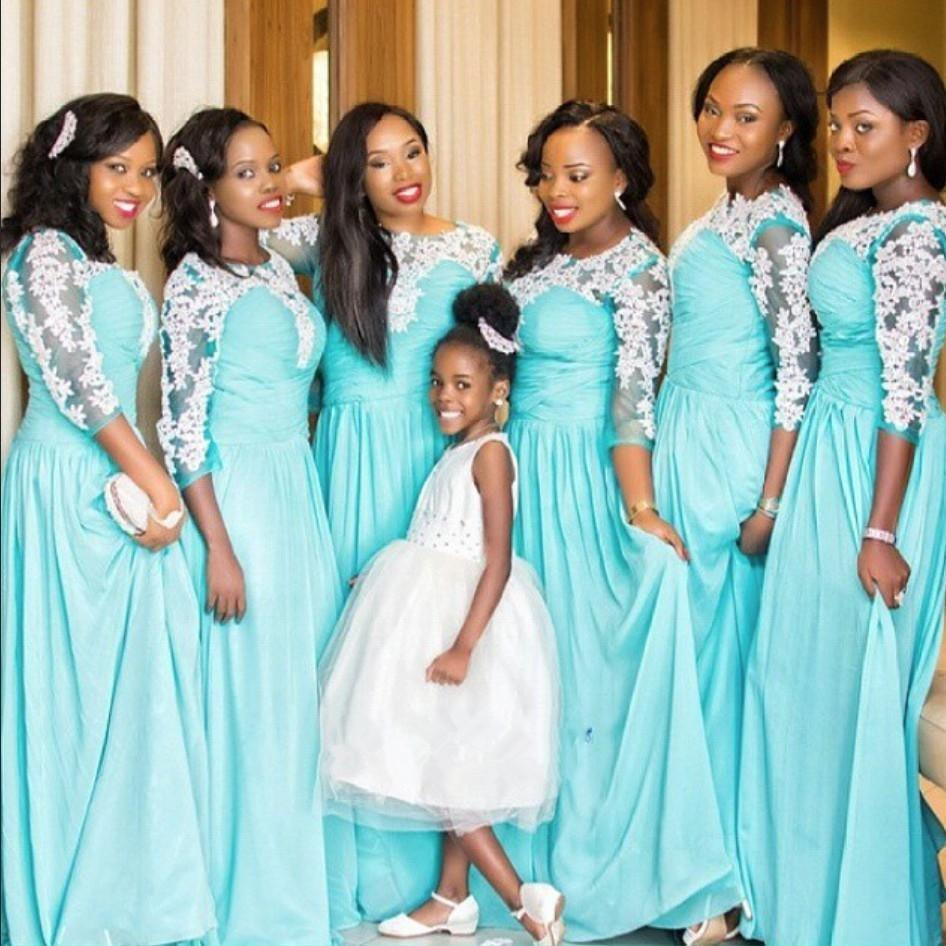 2017 hot sale long bridesmaid dress 34 sleeve light blue chiffon 2017 hot sale long bridesmaid dress 34 sleeve light blue chiffon white lace floor length girls party gowns custom made long bridesmaid dresses blue ombrellifo Gallery
