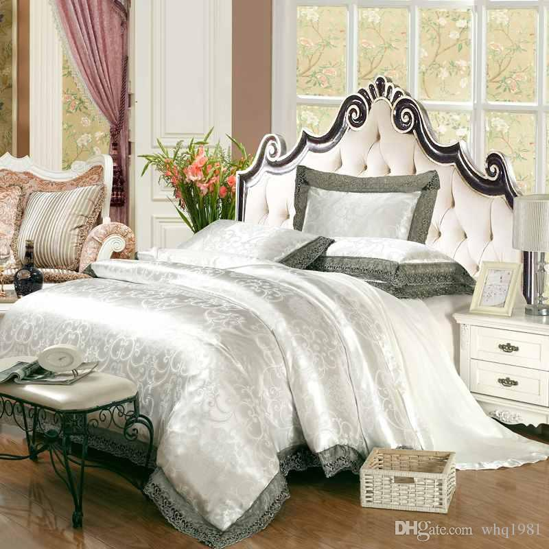 Classic White Silk Jacquard Bedding Set Queen King Solid