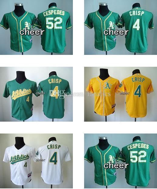 youth 52 joey wendle 4 coco crisp kids youth baseball jerseys white green yellow top quality