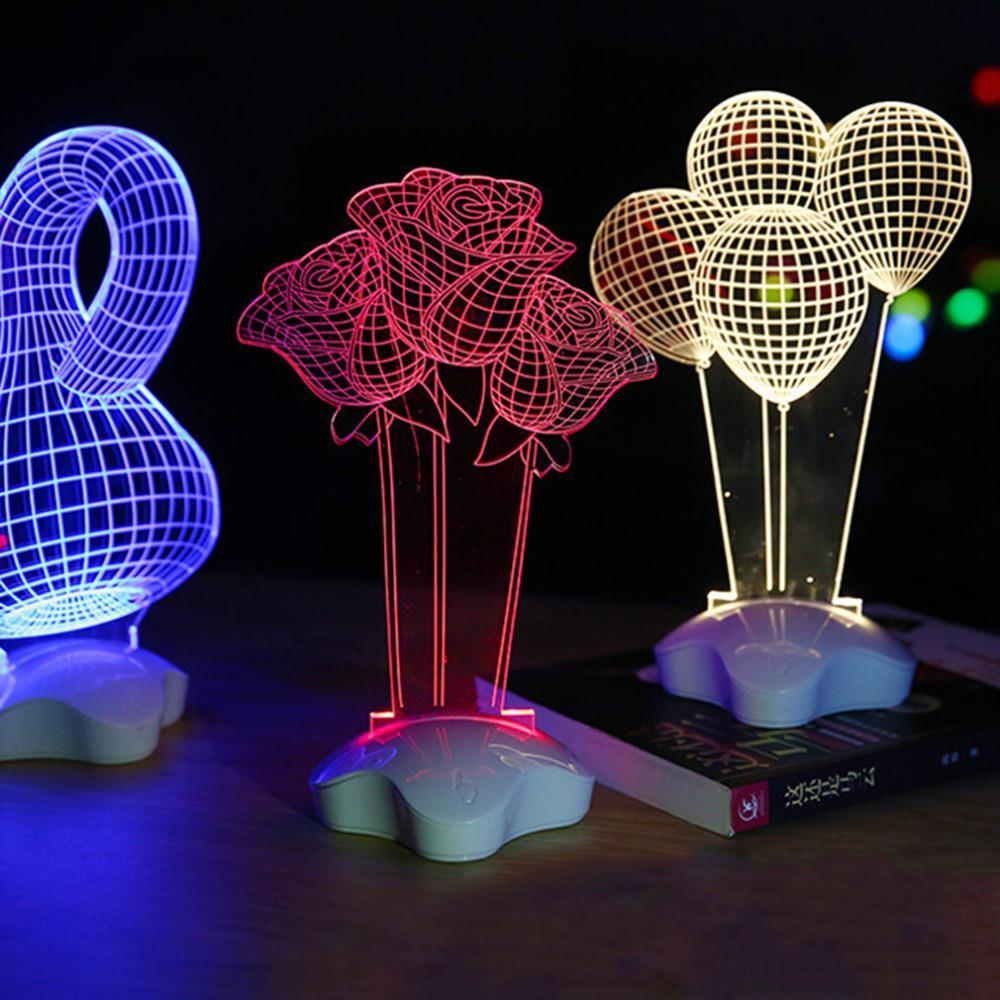 Led Acrylic Night Light Table Desk Lamp Home Decorative Lighting Led 3d Illusion Visual Fantasy Lights