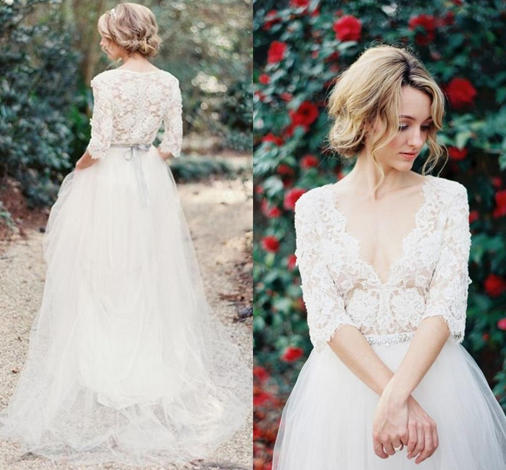 Discount Vintage Lace Bohemia Wedding Dresses V Neck Half