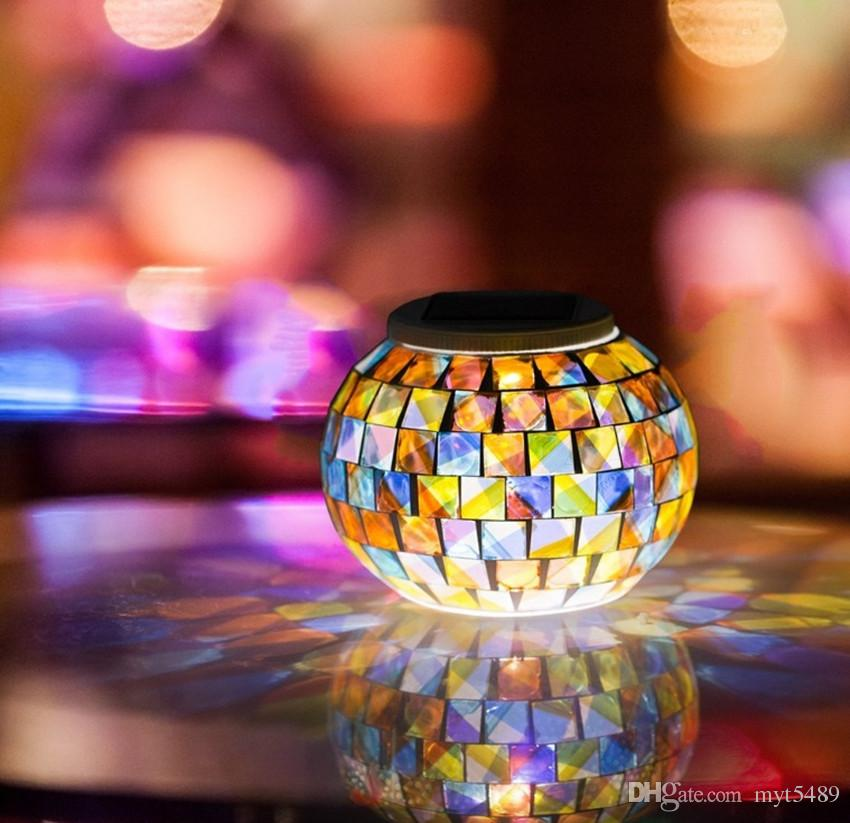 Solar Powered Mosaic Glass Ball Garden Lights Color Changing