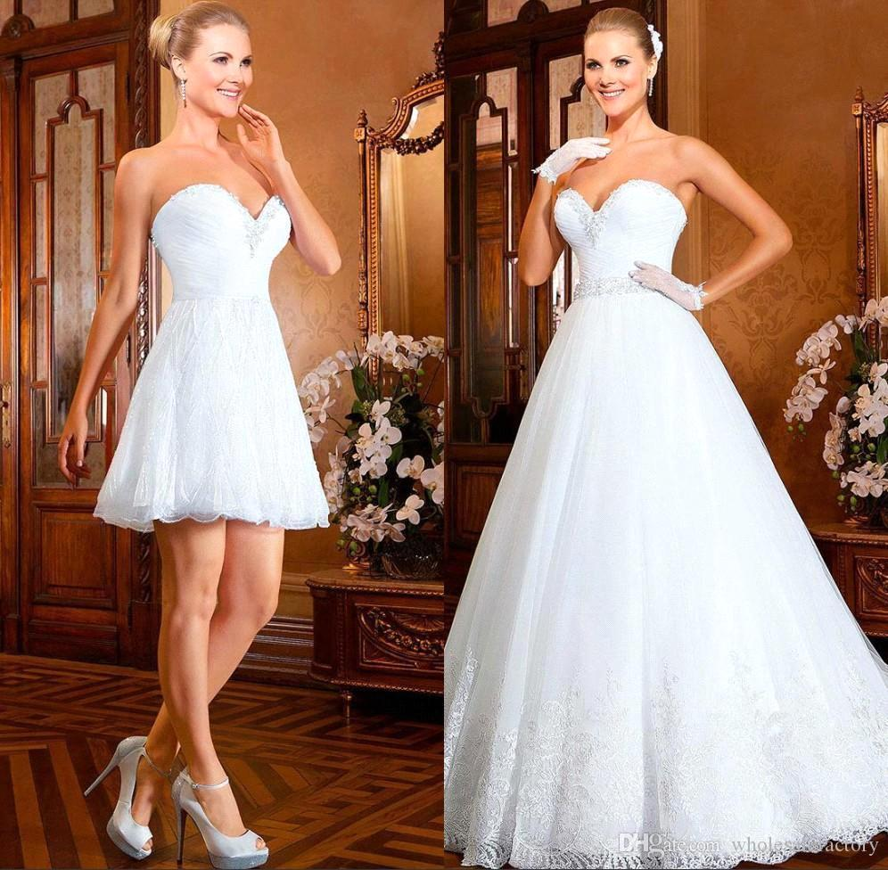 Ball Gown Wedding Dresses 2017 With Bling : Bling ball gown short wedding dresses with detachable skirt train