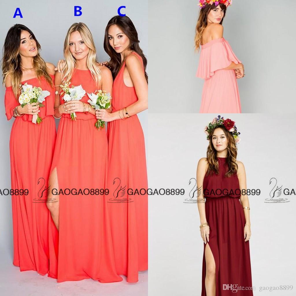 Chic Mumu Coral Split Chiffon Cheap Bohemian Beach Bridesmaid Dresses 2016 Custom Make Elegant