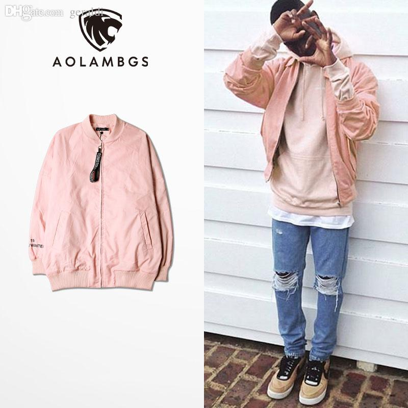 Fall Pink Jacket Men Hip Hop Loose Bomber Jacket Korean Fashion ...