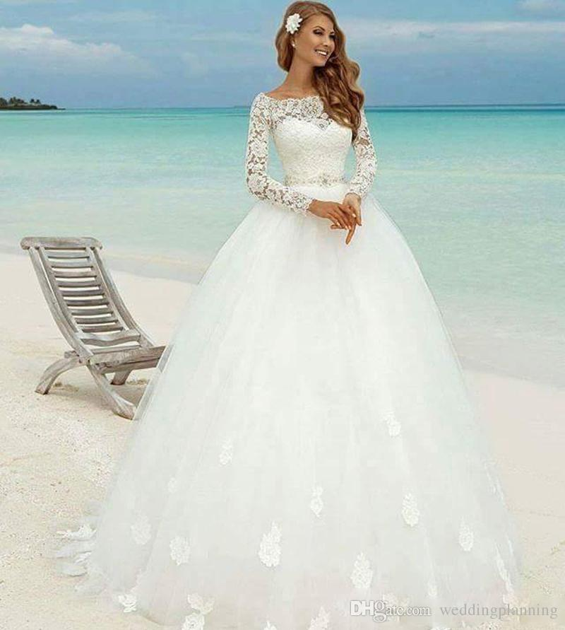 Discount 2017 winter long sleeve beach wedding dresses for Beach wedding dresses 2017