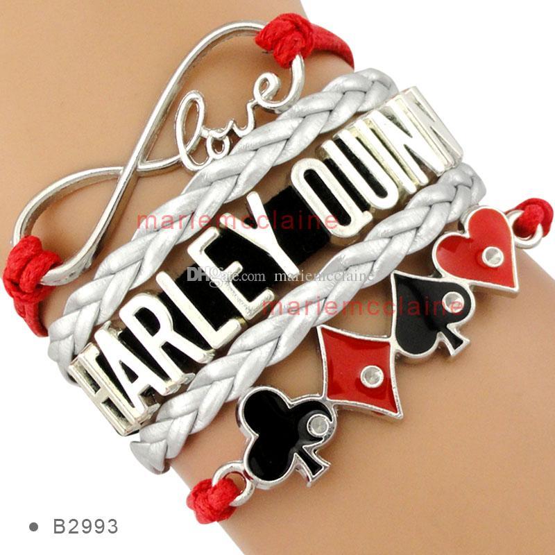 Infinity love harley quinn bracelet poker joker heart for Harley quinn and joker jewelry