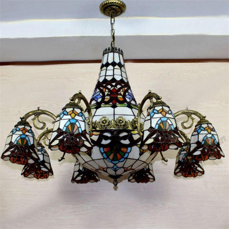 Baroque tiffany chandeliers european vintage style stained for Suspension baroque