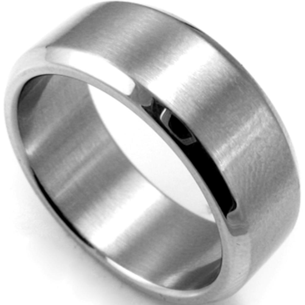 8MM Plain Stainless Steel Ring Band Size 715 Silver Brushed