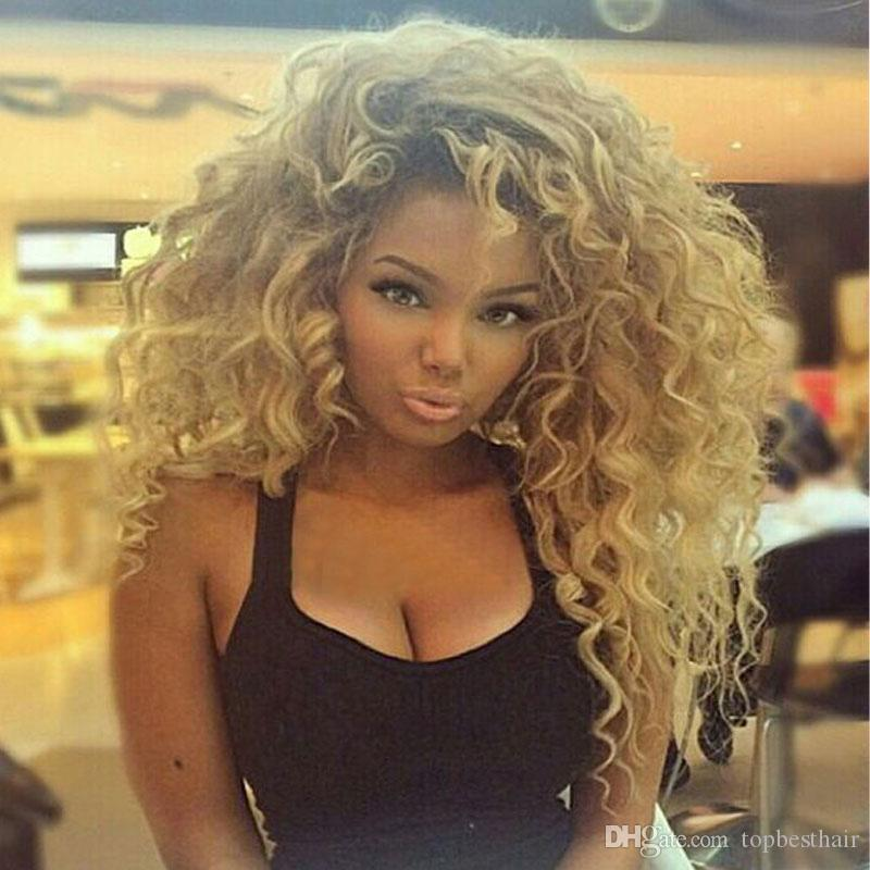 Blonde 27 Natural Curly Wig Blonde Full Lace Wig Human