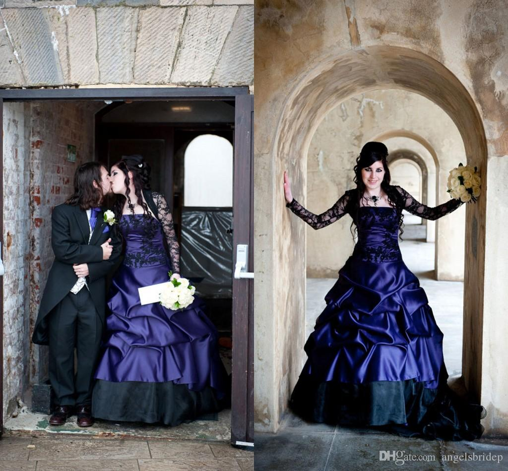 Victorian Gothic Purple And Black Wedding Dresses