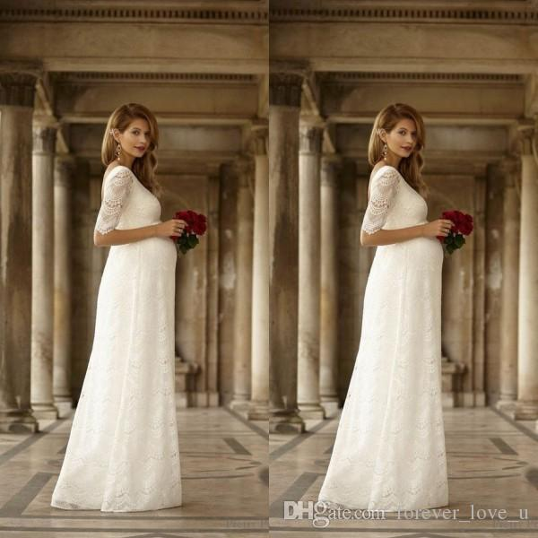 Elegant Wedding Dresses For Pregnant Brides : Elegant maternity wedding dresses empire waist