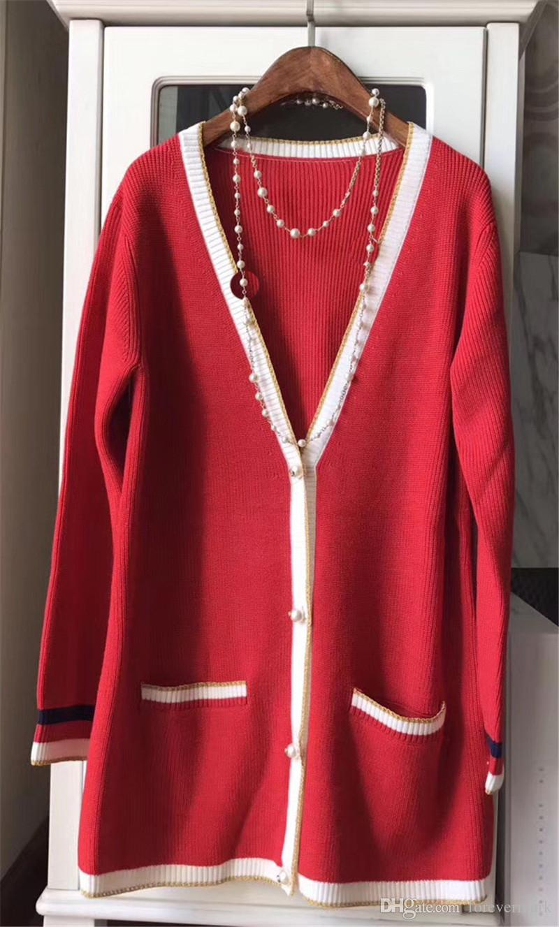 Red Color Wool Sweaters for Women High Quality Luxury Runway Show ...