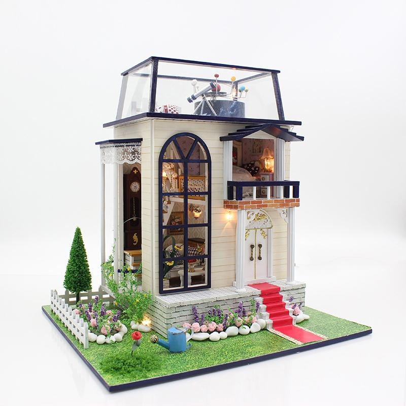 Wooden Dollhouse With LED