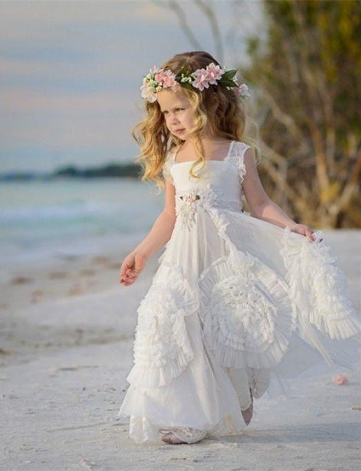 2016 beach flower girls dresses for weddings lace off for Beach wedding flower girl dresses